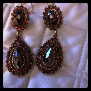 Antique Austrian Garnet and Gold Earrings